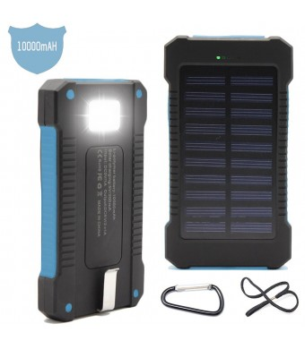 Solar Charger Battery Matone Portable 10000mAh Solar Battery Charger Shockproof With Light Dual USB output Solar Powered Phone Charger for iPhone, iPod, iPad, Samsung, HTC, GPS and Gopro Camera (Blue)