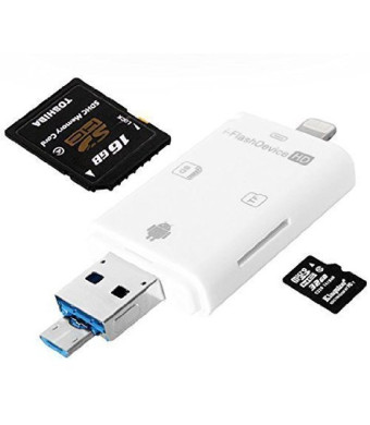 WECODO Memory Card Reader Lightning iFlash Drive USB SDHC Micro SD OTG Card Adapter for iPhone 6S 6S plus 6 6 plus iPad Samsung Huawei PC Tablet