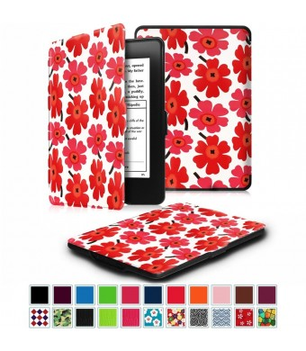 Fintie SmartShell Case for Kindle Paperwhite - The Thinnest and Lightest Leather Cover With Auto Sleep / Wake for All-New Amazon Kindle Paperwhite (Fits All 2012, 2013, 2015 and 2016 Versions), Poppy