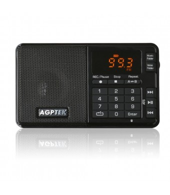 AGPTek Portable R08 Mini Line-in Radio Recorder with Digital Audio Player of A-B Repeat, Micro SD Card Supported Up to 32 GB (black)