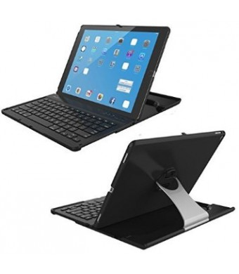 """iPad Pro Keyboard Case, Procase Apple iPad Pro Tablet Wireless Bluetooth Keyboard Case, 360 Degree Rotation, Ultra-Slim, Multiple Angle Viewing, Stand Protective Case for Apple iPad Pro 12.9"""" (Black)"""