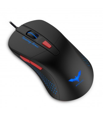 HAVIT HV-MS745 Adjustable 2800 DPI with 4 LED Lights Optical Wired Gaming Mouse for PC and Mac (Bl