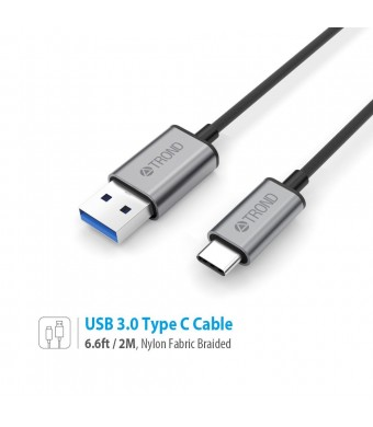 TROND USB 3.0 Type C Charger Cable Braided (6.6ft Long, 56k? Pullup Resistor, Sync and Charging), For Apple MacBook 12 inch, Google Chromebook Pixel, Nexus 5X 6P, Lumia 950 950XL, OnePlus 2 and More