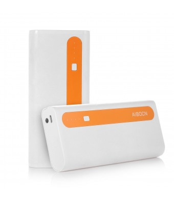 Aibocn Power Bank 10,000mAh External Battery Charger Dual USB Portable Charger with Flashlight (Bright Singal Orange)