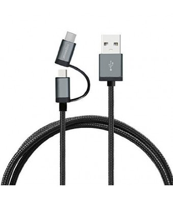 Segawoot Micro USB Braided Cable with USB C Type Connector, 3.9 Feet, Black