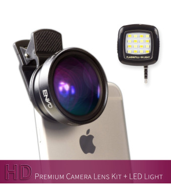 XENVO Premium Camera Lens Kit with LED Light and Portable Case: 2-in-1 Wide Angle Lens and Macro Lens for iPhone 6/6s/6s Plus/5s and Android/Samsung