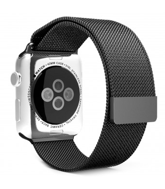 Apple Watch Band, UMTele Milanese Loop Stainless Steel Bracelet Smart Watch Strap with Unique Magnet Lock, No Buckle Needed for iWatch Apple Watch Band 42mm Black