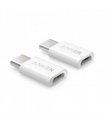 [2 in 1 Pack] Anker USB-C to Micro USB Adapter, Converts USB Type-C input to Micro USB, Uses 56K Resistor, Works with MacBook, ChromeBook Pixel, Nexus 5X, Nexus 6P, OnePlus 2 and More