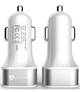 Car Charger: Stalion 2-Port Dual Multiple USB Vehicle Charger Universal Portable Rapid Travel Charger (Ceramic White) for All Smartphones Tablets GPS and Cellular Devices