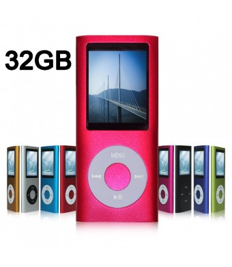 G.G.Martinsen 32GB MP3/MP4 Player with Multi-lingual OS, Mini USB Port, Voice Recorder, Media Player and E-book reader (Pink)