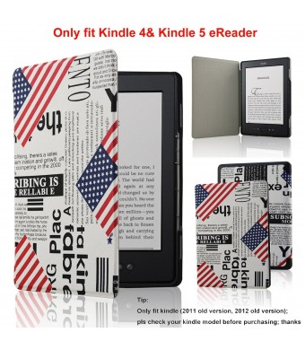 ACdream Ultra Slim Leather Cover Case for Kindle 4 and kindle 5 With Magnet Closure(Only Fit Kindle 2011 and 2012 old version); Not fit kindle 7th gen 2014 Version Or Paperwhite/ kindle touch), US-Flag