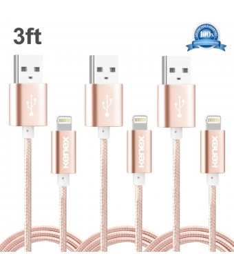 Kenex 3 Pack 3.3ft USB 2.0 Nylon Braided Lightning Cable USB Charging Cable Cord for iPhone 6S/6S Plus/6 Plus/6/5/5C/5S, iPad Air, Mini 4, iPod 5 and iPod 7