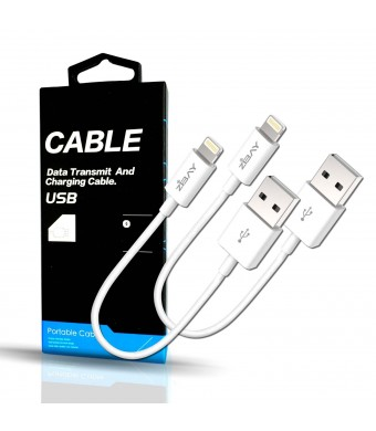 [Upgraded Version] iPhone Lightning Cables, ZiBay 2-PACK Short USB Data Cord [12 Inches] for iPhone 6s / 6s plus, iPhone 6 / 6 Plus, iPhones 5 /5s, iPad Minis, iPad Airs, iPod Touch, iPods
