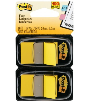 Post-it Flags Value Pack, Yellow, 1-Inch Wide, 50/Dispenser, 12-Dispensers/Pack