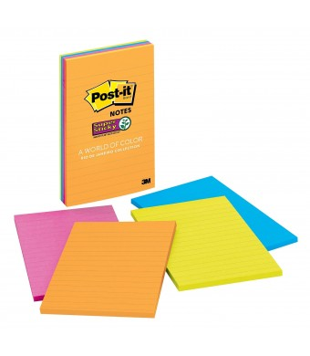 Post-it Super Sticky Notes, 4 in x 6 in, Rio de Janeiro Collection, Lined, 4 Pads/Pack, 45 Sheets/Pad (4621-SSAU)