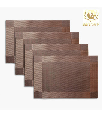 Moore Non-slip Insulation Placemat,Moor Crossweave Woven Vinyl Non-slip Insulation Placemat Washable Tab