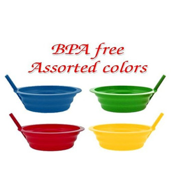 Green Direct Sippy-Bowl 22oz Plastic Bowl with Built in Straw for Kids Assorted Colors Blue-Red-Green-Yellow (4)