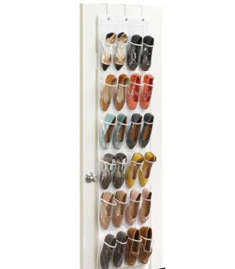 Zober Clear Over The Door Hanging Shoe Organizer | 24 Pocket Shoe Storage Rack | White