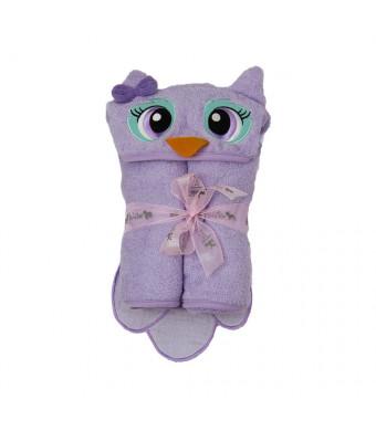"54"" x 30"" Owl Velour Toddler Towel, Purple, Frenchie Mini Couture"