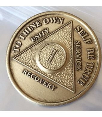 Toys & Child 1 Year Bronze AA (Alcoholics Anonymous) Birthday - Anniversary Recovery Medallion / Coin / Chip Mo