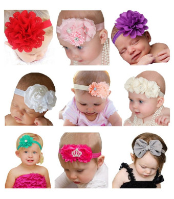 Qandsweet Baby Girl's Beautiful Headbands with Flower (Set of 9)