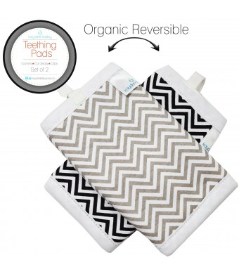Kaydee Baby Organic Reversible Teething Pads w/ Organic Fleece Inner Lining for Baby Carriers for Girls and Boys (Chevron) - 2 Pack