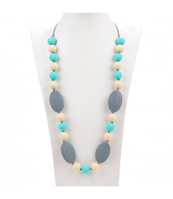 Consider It Maid Silicone Teething Necklace for Mom to Wear - FREE E-BOOK - BPA FREE and FDA Approved - Utopia (Turquoise/Navajo White/Grey)