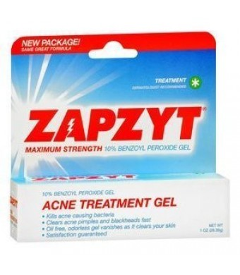 ZAPZYT Maximum Strength 10% Benzoyl Peroxide Acne Treatment Gel - 1 Oz