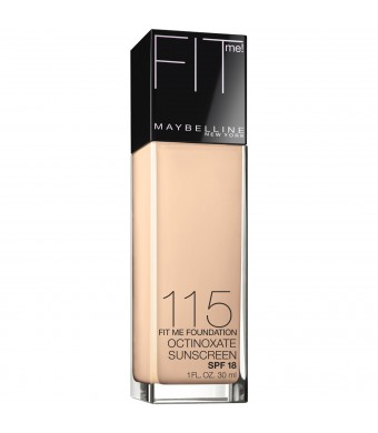 Maybelline New York Fit Me! Foundation, 115 Ivory, SPF 18, 1.0 Fluid Ounce