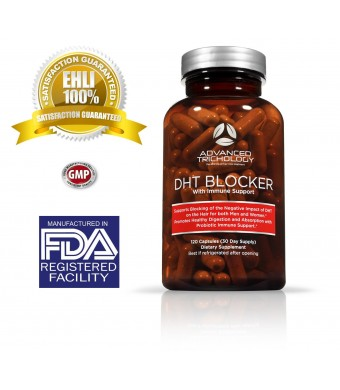 Advanced Trichology DHT Blocker with Immune Support Supplement- High Potency Saw Palmetto, Green Tea and Probiotics -