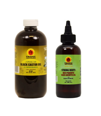 "Tropic Isle Living Jamaican Black Castor Oil 8oz and Strong Roots Red Pimento Hair Growth Oil 4oz ""SET"""
