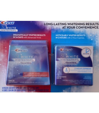 Crest 3D White Whitestrips w/ Advanced Seal Professional Dental Whitening Kit (28 STRIPS) and Crest 3D White 1-Hour Express Whitestrips Dental Whitening Kit (2 TREATMENTS) - Bundle 2PACK