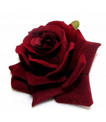 Hair Flowers Dark Red Velvet Rose Hair Flower Clip and Pin