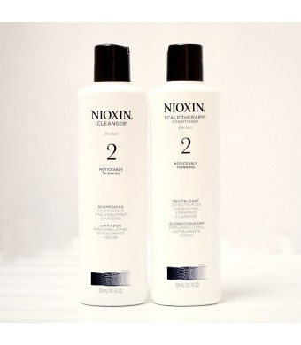 Nioxin System 2 Cleanser and Scalp Therapy for Fine Thinning Hair Duo 10 oz