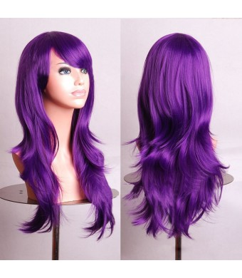 "Outop 28"" Long Heat Resistant Purple Big Wavy Cosplay Wig"