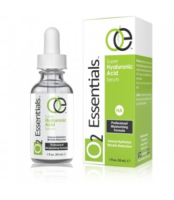 O2 Essentials - Hyaluronic Acid Serum for Skin with Vitamin C and E - 100% Pure Anti Aging Moisturizer, 1 fl. Oz