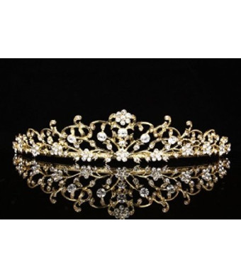 Venus Jewelry Flower Vine Design Bridal Tiara Crown - Clear Crystals Gold Plating T710