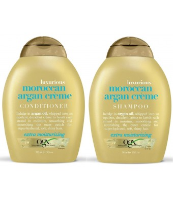OGX Luxurious Moroccan Argan Crème, Duo Set, Shampoo and Conditioner, 13 Ounce, 1 Each
