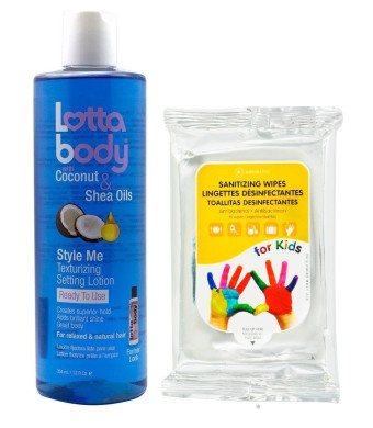 Lottabody STYLE ME Texturizing Setting Lotion with Coconut and Shea Oils 12oz with (Sanitizing Wip