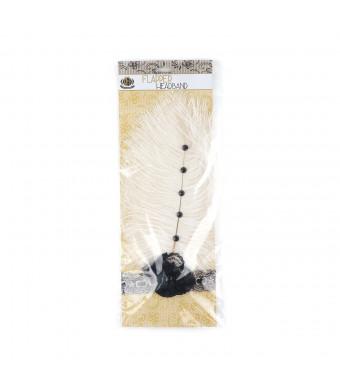 Zucker Feather Products Flapper Headband, Ivory Ostrich