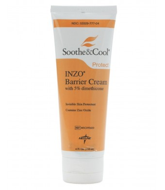 Medline Soothe and Cool INZO Barrier Cream, zinc oxide, 4 oz (2 Pack)
