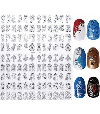 AnOs-Health&Beauty New Arrival Silver 3D Nail Art Stickers Decals,108pcs/sheet Stylish Metallic Mixed Designs Nail Ti
