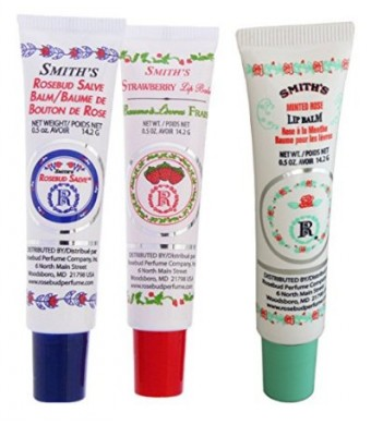 Rosebud Perfume Co. Tube 3 Pack: Smith's Rosebud Salve + Smith's Strawberry Lip Balm + Smith's Minted Rose Lip Balm
