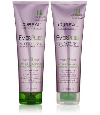 L'Oreal Paris EverPure Sulfate-Free Color Care System, DUO set Volume Shampoo + Conditioner, 8.5 Ounce, 1 each
