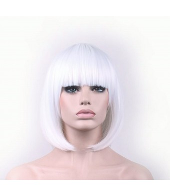 "TLTSHOPS TLT Synthetic Straight Short Hair Bob Natural White Wigs 11.5"" with Flat Bangs COSPLAY Wig for Wo"