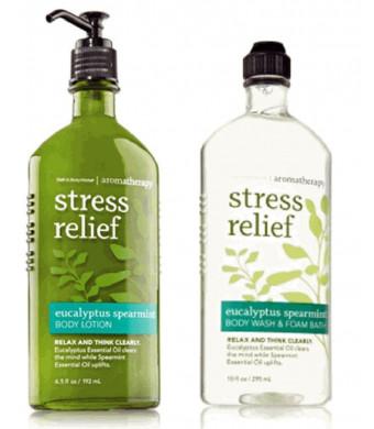Bath & Body Works Body Works Aromatherapy Stress Relief Eucalyptus Spearmint 10 Oz Body Wash and Foam Bath and 6.5 O