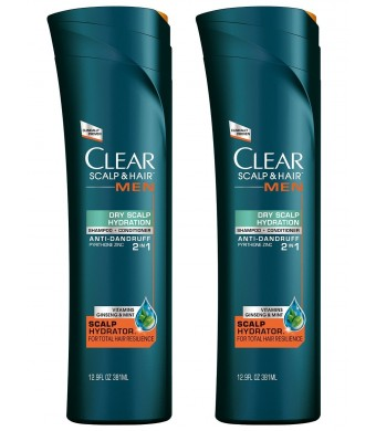 Clear Scalp and Hair Men Dry Scalp Hydration Anti-Dandruff 2-in-1 Shampoo + Conditioner, 12.9 Oz (