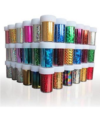 XICHENStarry Sky Stars Nail Art Stickers Tips Wraps Foil Transfer Adhesive Glitters Acrylic DIY Decoration (24PCS 24 Colors)(4cm*100cm)
