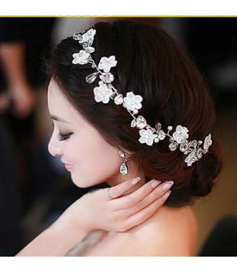 Carinloing Crystal Diamond Bride Bridal Wedding Hair Head Band Wear Pearl Rhinestone Jewelry Headdress Headba