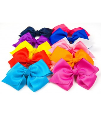 "Bzybel Boutique Little Girl's 6"" Big Hair Bows Grosgrain Ribbon Bows Hair Clips Barrettes"
